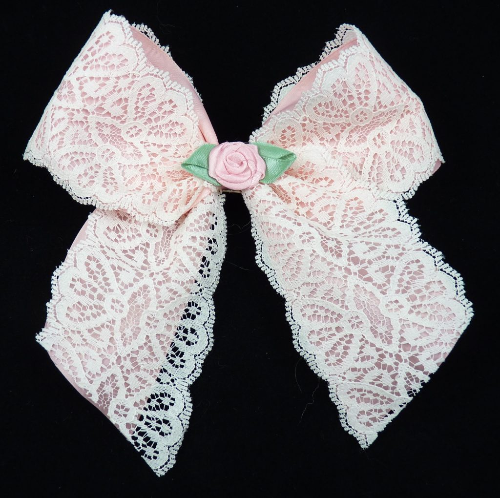 Satin Lined Lace Bow with Short tails - Satin Rose Center 150 Pink